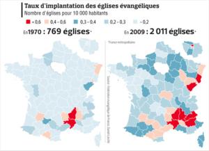 Taux d'implantation des églises évangéliques protestantes